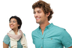 Close-up of a happy casual couple looking away Stock Photography