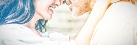 Close-up of happy couple embracing stock photography