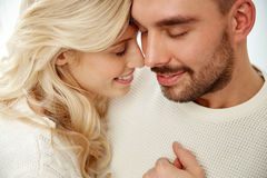 Close up of happy couple faces with closed eyes Royalty Free Stock Photos