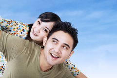 Close-up of happy couple have fun outdoor Stock Photo