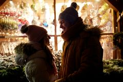Close up of happy couple in winter closes Royalty Free Stock Image