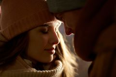 Close up of happy couple in winter clothes Royalty Free Stock Images