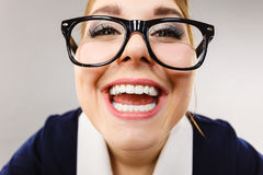Close up of happy crazy business woman Royalty Free Stock Images