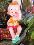 Close up,Happy dolls for garden decoration havegreeting in Thai Royalty Free Stock Photos