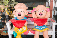 Close up,Happy dolls for garden decoration ,process color. Royalty Free Stock Images