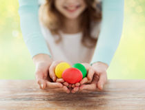 Close up of happy family holding easter eggs Royalty Free Stock Photos
