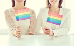 Close up of happy lesbian couple with rainbow flag Stock Images
