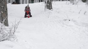 Close up of happy little girl in skiing outfit, sitting on her red sleigh and quickly sliding down from the top of the stock video footage