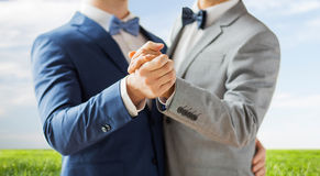 Close up of happy male gay couple dancing Royalty Free Stock Photography