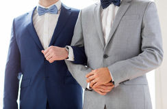 Close up of happy male gay couple holding hands Stock Images