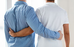 Close up of happy male gay couple hugging Royalty Free Stock Photo