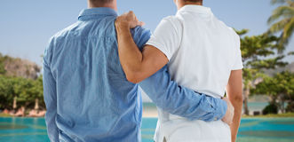Close up of happy male gay couple hugging Royalty Free Stock Photos