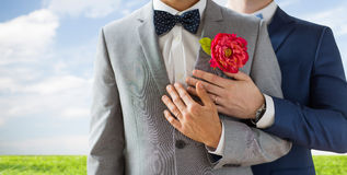 Close up of happy male gay couple. People, homosexuality, same-sex marriage and love concept - close up of happy married male gay couple in suits with Stock Images