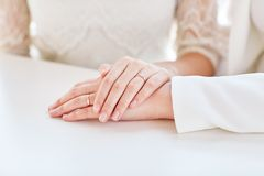 Close up of happy married lesbian couple hugging Royalty Free Stock Photography