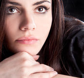 Close up happy pretty young woman posing Stock Photos