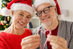 Close up of happy senior couple at christmas Stock Images