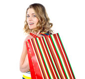 Close-up of happy shopping girl Royalty Free Stock Photo