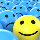 Close up happy smiley beteen sad Stock Images