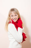 Close up on happy smiling & looking at camera beautiful woman wearing knitted gloves and scarf Stock Image