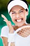 Close up of happy sportive woman Royalty Free Stock Photos