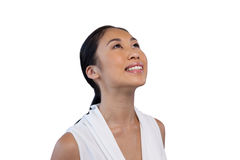 Close up of happy thoughtful businesswoman looking up Royalty Free Stock Image