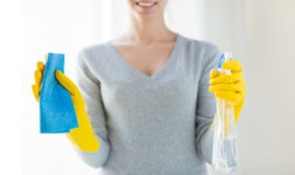 Close up of happy woman with cloth and cleanser Stock Photos
