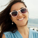 Close up Happy woman near ocean Royalty Free Stock Photo
