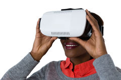Close up of happy woman wearing vr glasses Royalty Free Stock Photo