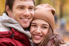 Close up of happy young couple in autumn park Royalty Free Stock Photos