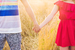Close-up of happy young couple walking on wheat field Royalty Free Stock Photo