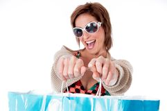 Close up of Happy Young woman with shopping bag. On isolated white background Stock Photos