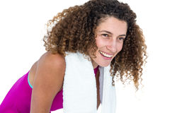 Close-up of happy young woman with towel on shoulder Royalty Free Stock Images