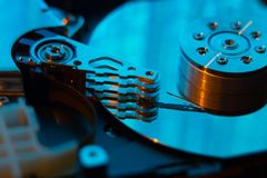 Close up  of hard disk with abstract reflection Stock Photography