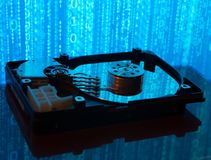 Close up  of hard disk with abstract reflection Royalty Free Stock Photography