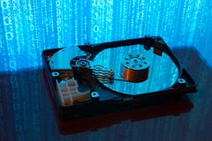 Close  up of hard disk with abstract reflection Royalty Free Stock Images