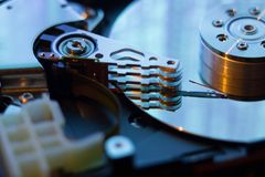 Close  up of hard disk with abstract reflection Stock Images