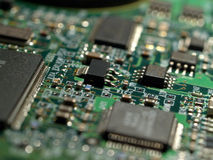 Close-up of hard disk circuits Royalty Free Stock Image