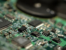 Close-up of hard disk circuits Royalty Free Stock Photos