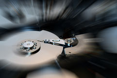 Close Up of Hard Disk with Effects Royalty Free Stock Photography