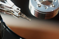 Close up of hard disk into personal computer royalty free stock photography