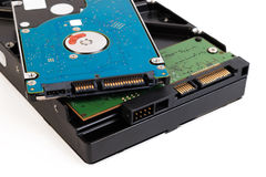 Close up of hard disk's internal and external mechanism hardware Stock Images