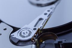 A close up of a hard drive. A close up of a computer hard drive stock images