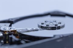 A close up of a hard drive. A close up of a computer hard drive royalty free stock image