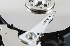 Close up hard drive. Close up view of hard drive inside Royalty Free Stock Photography