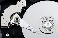 Close up hard drive. Close up view of hard drive inside Stock Image