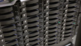 Close up of hard drives in large SAN storage stock video