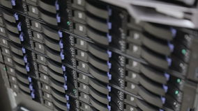 Close up of hard drives in large SAN storage stock footage