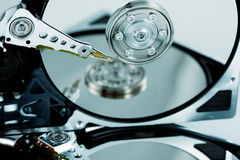 Close-up of hard drives with reflection royalty free stock photos