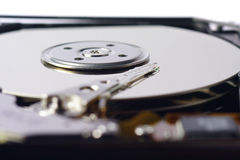 Close-Up of Harddrive/Harddisc. Macro-Picture of an open Harddisc Stock Image