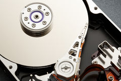 Close up of hardisk's internal mechanism Royalty Free Stock Images